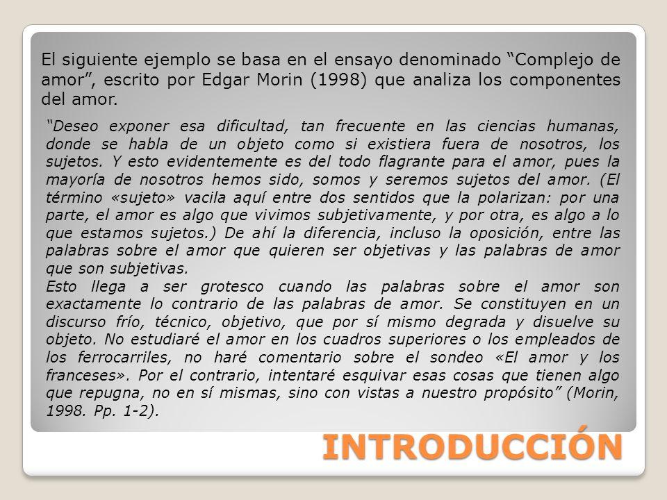 INTRODUCCIÓN El siguiente ejemplo se basa en el ensayo denominado Complejo de amor, escrito por Edgar Morin (1998) que analiza los componentes del amo