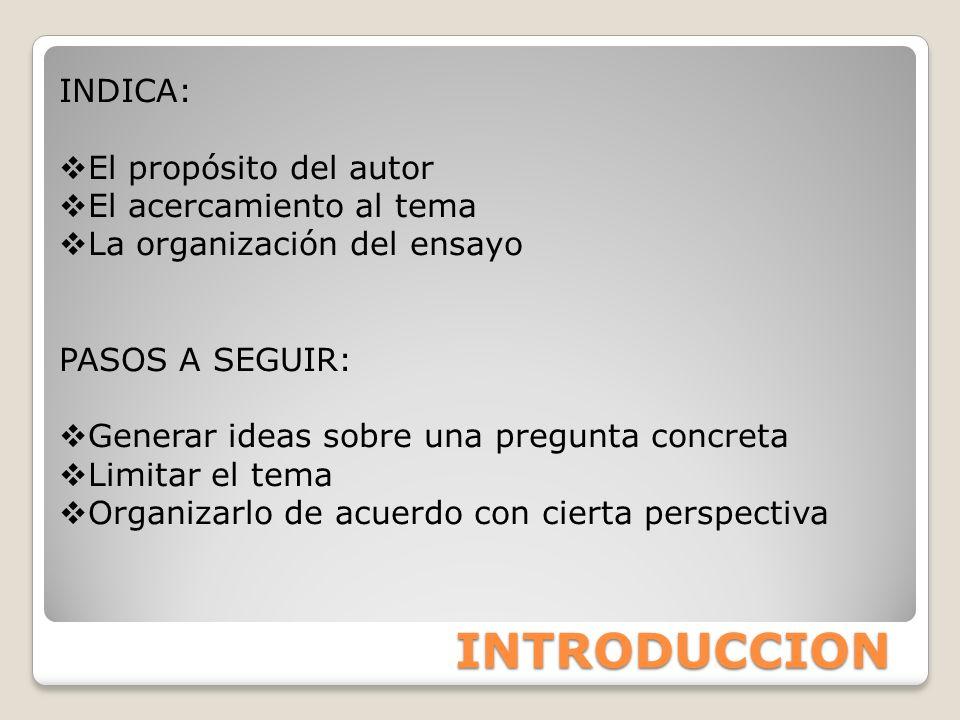 INTRODUCCION INDICA: El propósito del autor El acercamiento al tema La organización del ensayo PASOS A SEGUIR: Generar ideas sobre una pregunta concre