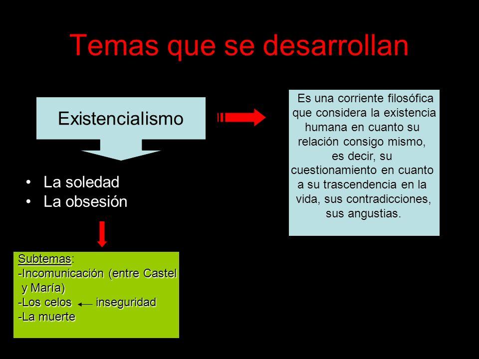 Temas que se desarrollan La soledad La obsesión Existencialismo Es una corriente filosófica que considera la existencia humana en cuanto su relación c