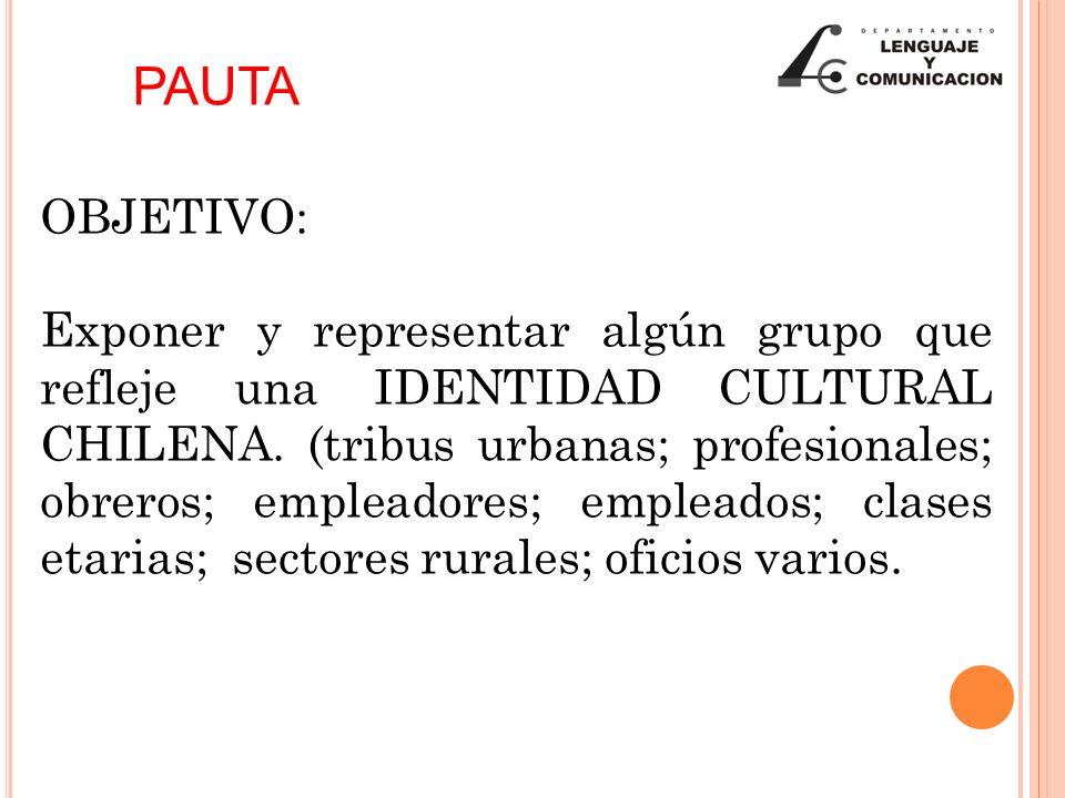 OBJETIVO: Exponer y representar algún grupo que refleje una IDENTIDAD CULTURAL CHILENA. (tribus urbanas; profesionales; obreros; empleadores; empleado