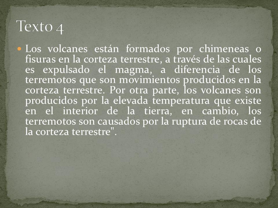 Los volcanes están formados por chimeneas o fisuras en la corteza terrestre, a través de las cuales es expulsado el magma, a diferencia de los terremo