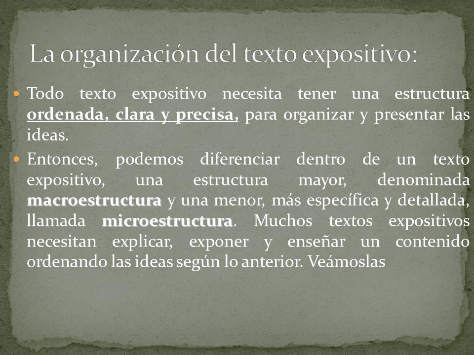 Todo texto expositivo necesita tener una estructura ordenada, clara y precisa, para organizar y presentar las ideas. macroestructura microestructura E