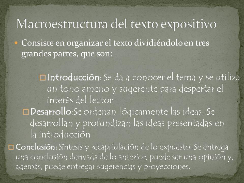 Consiste en organizar el texto dividiéndolo en tres grandes partes, que son: Introducción Introducción: Se da a conocer el tema y se utiliza un tono a