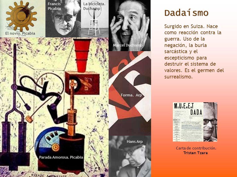 Dadaísmo Surgido en Suiza. Nace como reacción contra la guerra. Uso de la negación, la burla sarcástica y el escepticismo para destruir el sistema de