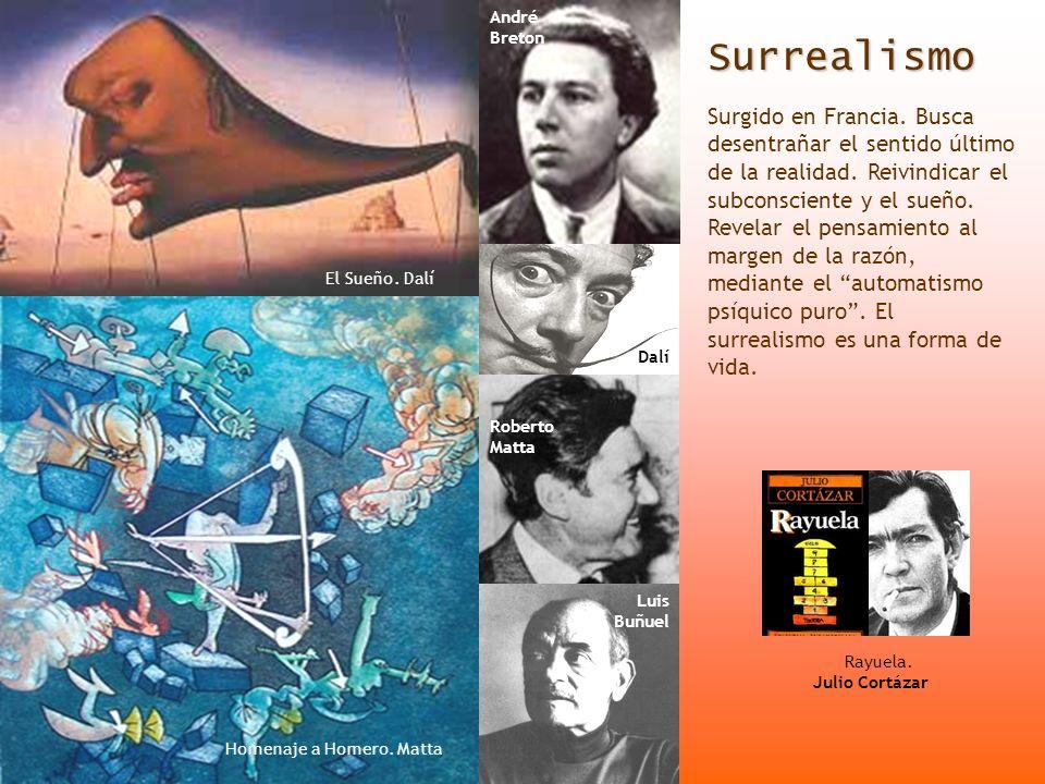 Surrealismo Surgido en Francia. Busca desentrañar el sentido último de la realidad. Reivindicar el subconsciente y el sueño. Revelar el pensamiento al