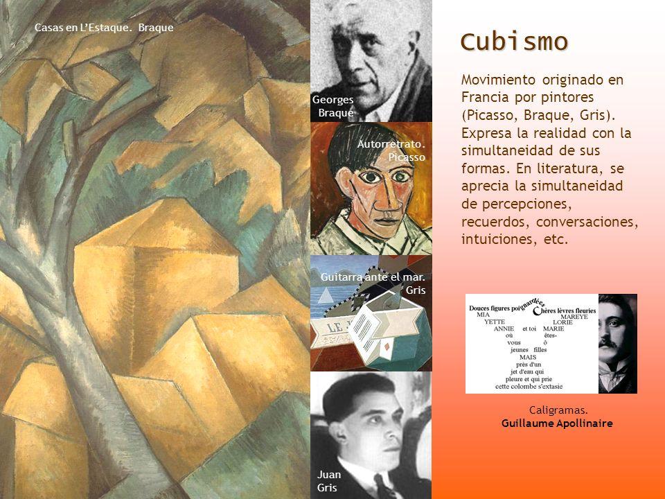 Cubismo Cubismo Movimiento originado en Francia por pintores (Picasso, Braque, Gris). Expresa la realidad con la simultaneidad de sus formas. En liter