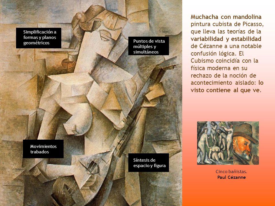 Muchacha con mandolina pintura cubista de Picasso, que lleva las teorías de la variabilidad y estabilidad de Cézanne a una notable confusión lógica. E