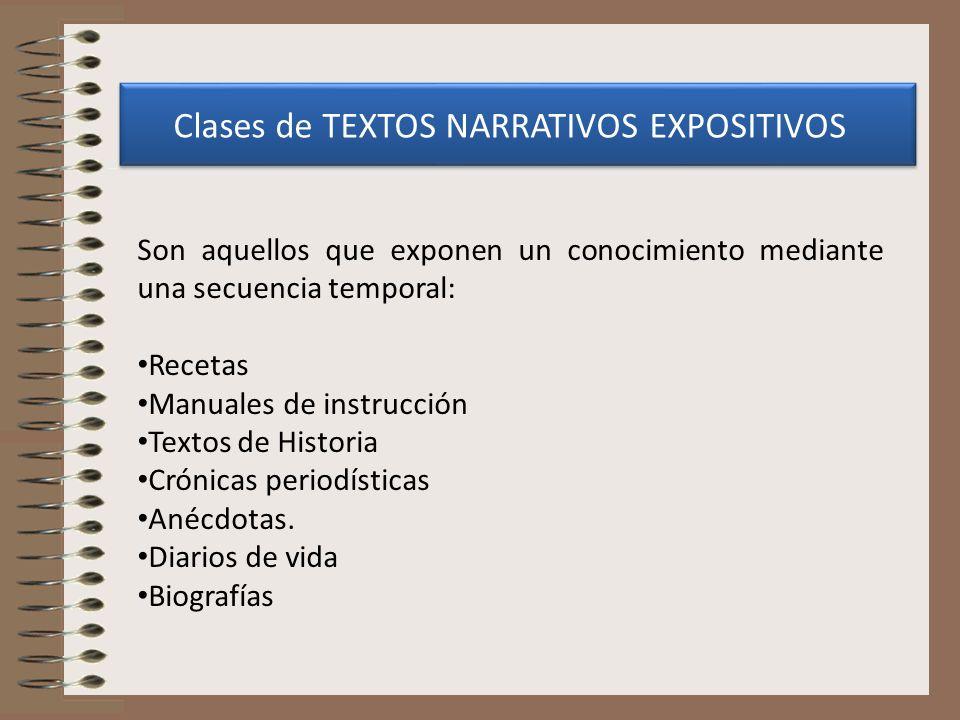 Clases de TEXTOS NARRATIVOS EXPOSITIVOS Son aquellos que exponen un conocimiento mediante una secuencia temporal: Recetas Manuales de instrucción Text