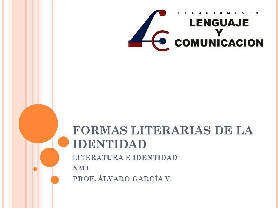 FORMAS LITERARIAS DE LA IDENTIDAD LITERATURA E IDENTIDAD NM4 PROF. ÁLVARO GARCÍA V.