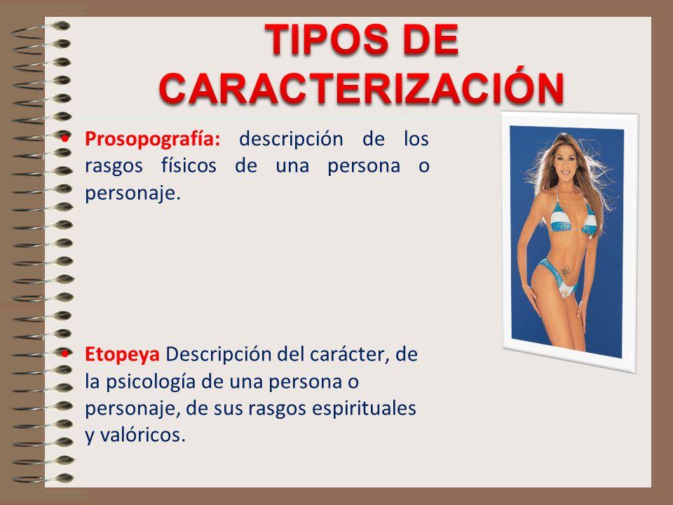 Prosopografía: descripción de los rasgos físicos de una persona o personaje. Etopeya Descripción del carácter, de la psicología de una persona o perso
