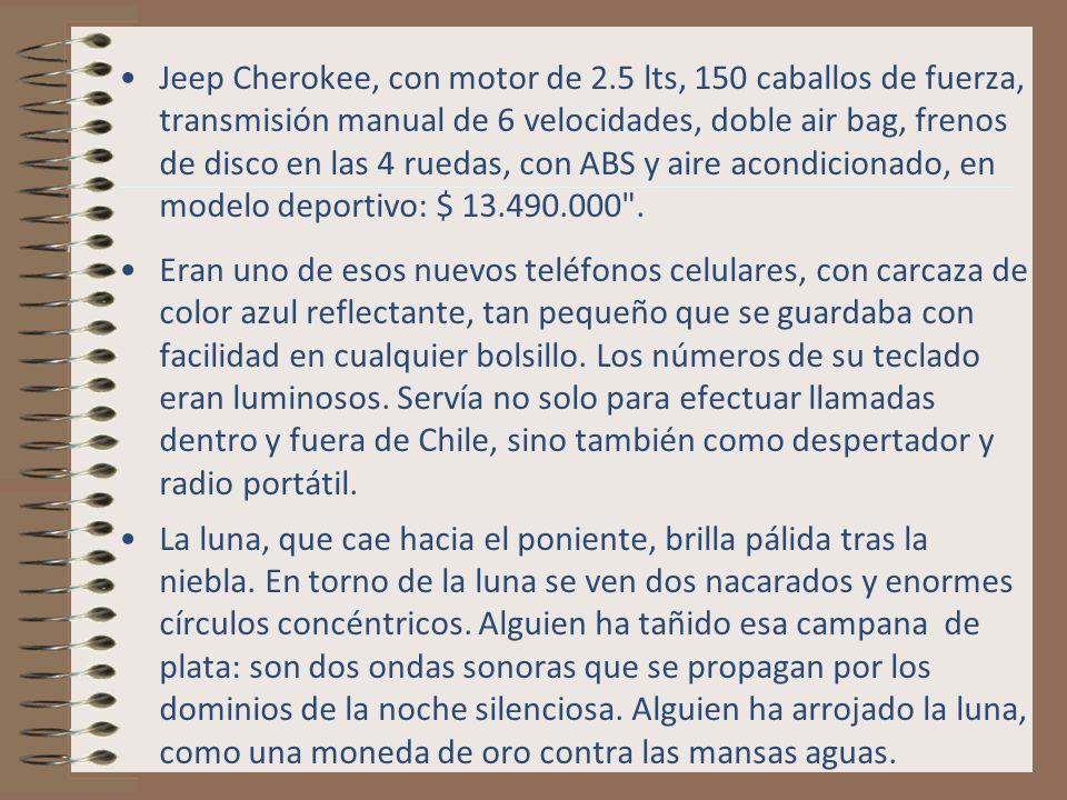 Jeep Cherokee, con motor de 2.5 lts, 150 caballos de fuerza, transmisión manual de 6 velocidades, doble air bag, frenos de disco en las 4 ruedas, con