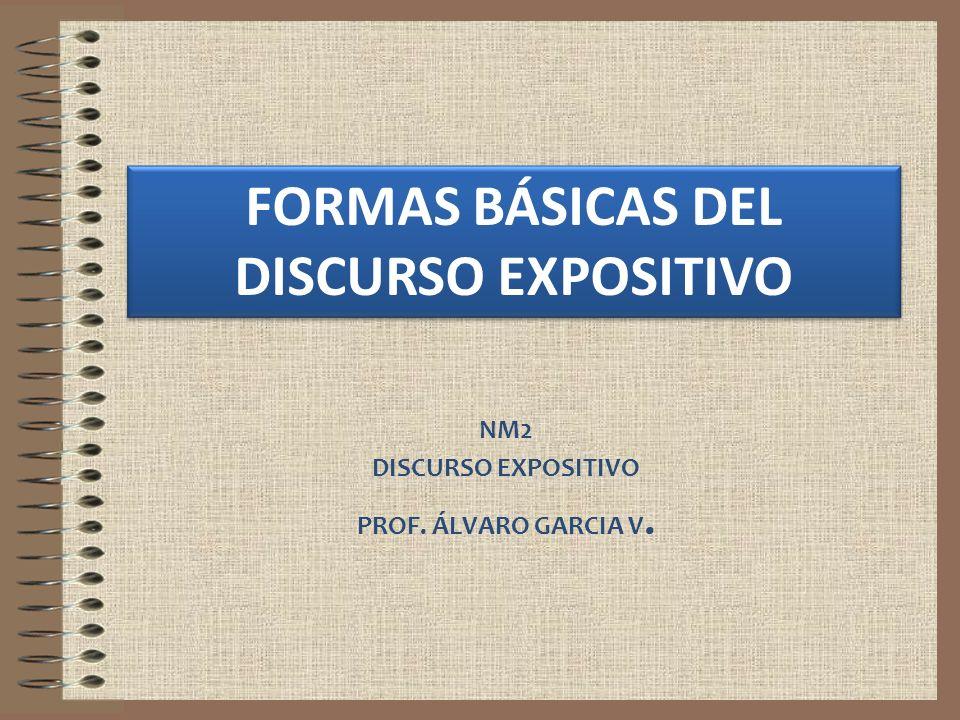NM2 DISCURSO EXPOSITIVO PROF. ÁLVARO GARCIA V. FORMAS BÁSICAS DEL DISCURSO EXPOSITIVO