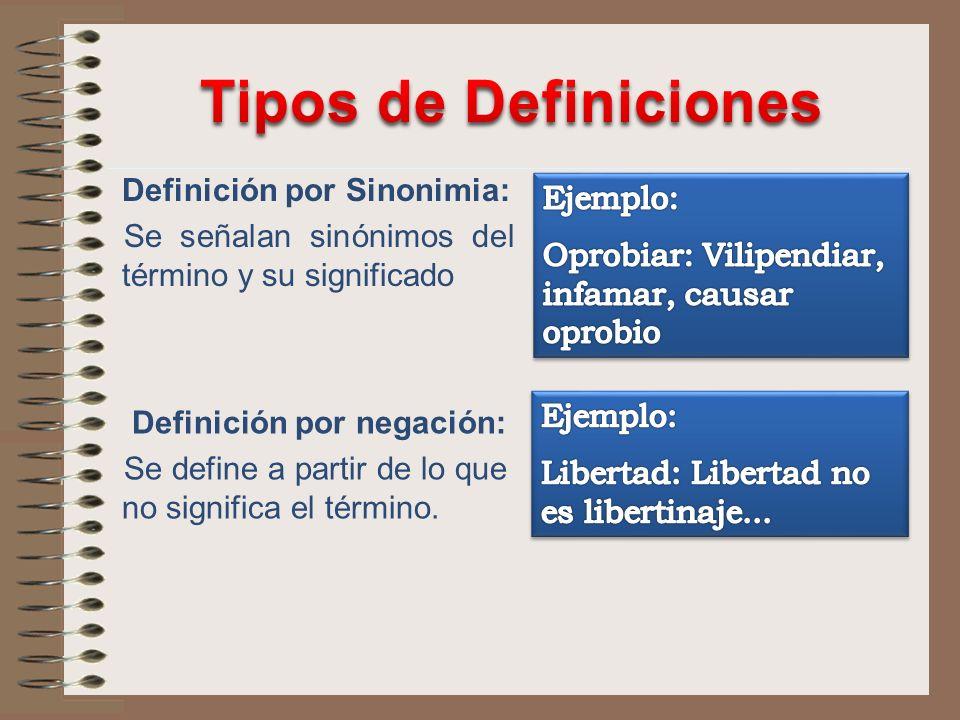 Definición por Sinonimia: Se señalan sinónimos del término y su significado Definición por negación: Se define a partir de lo que no significa el térm