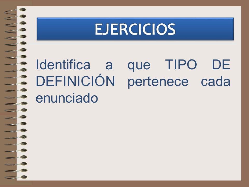 Identifica a que TIPO DE DEFINICIÓN pertenece cada enunciado
