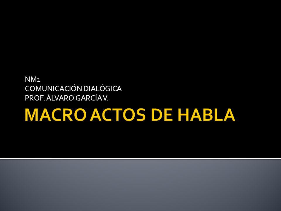 El Macro acto de Habla se refiere al acto de habla que predomina en el formato de un texto o una expresión.