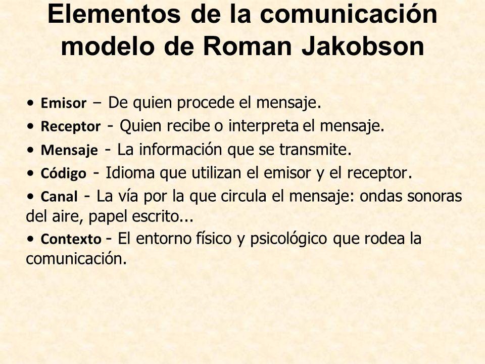 Elementos de la comunicación modelo de Roman Jakobson Emisor – De quien procede el mensaje. Receptor - Quien recibe o interpreta el mensaje. Mensaje -