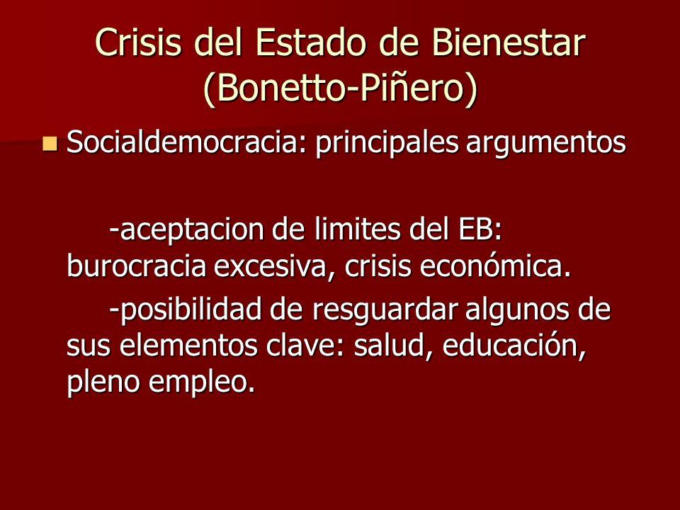 Socialdemocracia: principales argumentos Socialdemocracia: principales argumentos -aceptacion de limites del EB: burocracia excesiva, crisis económica