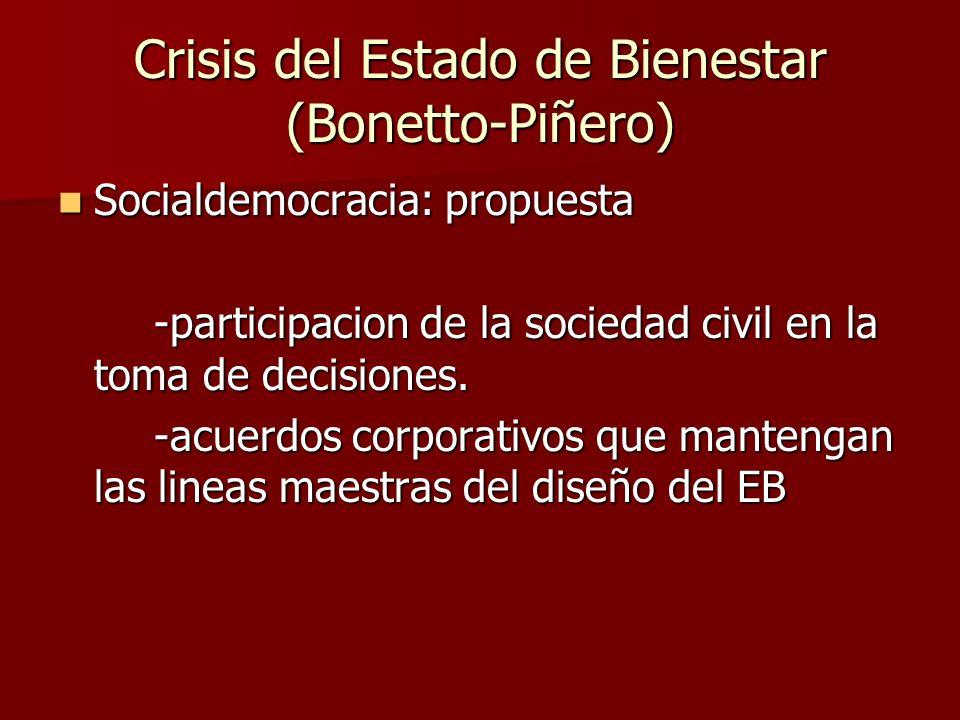 Socialdemocracia: propuesta Socialdemocracia: propuesta -participacion de la sociedad civil en la toma de decisiones. -acuerdos corporativos que mante