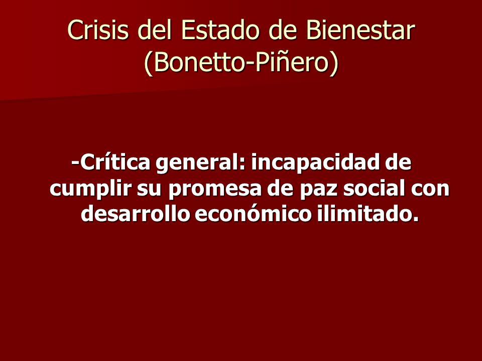 -Crítica general: incapacidad de cumplir su promesa de paz social con desarrollo económico ilimitado. Crisis del Estado de Bienestar (Bonetto-Piñero)
