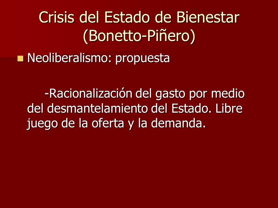 Neoliberalismo: propuesta Neoliberalismo: propuesta -Racionalización del gasto por medio del desmantelamiento del Estado. Libre juego de la oferta y l