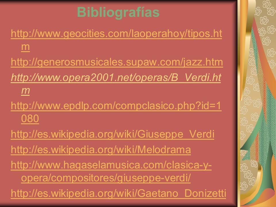 Bibliografías http://www.geocities.com/laoperahoy/tipos.ht m http://generosmusicales.supaw.com/jazz.htm http://www.opera2001.net/operas/B_Verdi.ht m h