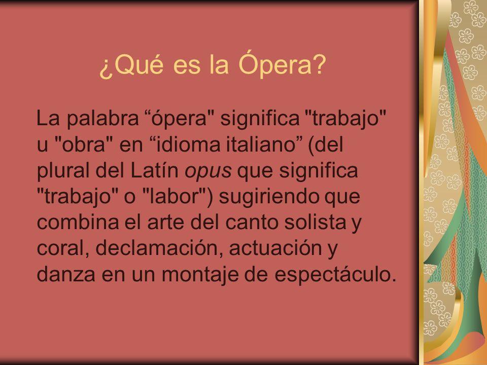 ¿Qué es la Ópera? La palabra ópera