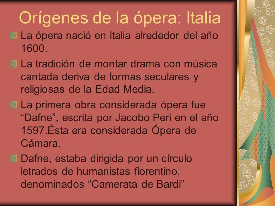 Orígenes de la ópera: Italia La ópera nació en Italia alrededor del año 1600. La tradición de montar drama con música cantada deriva de formas secular