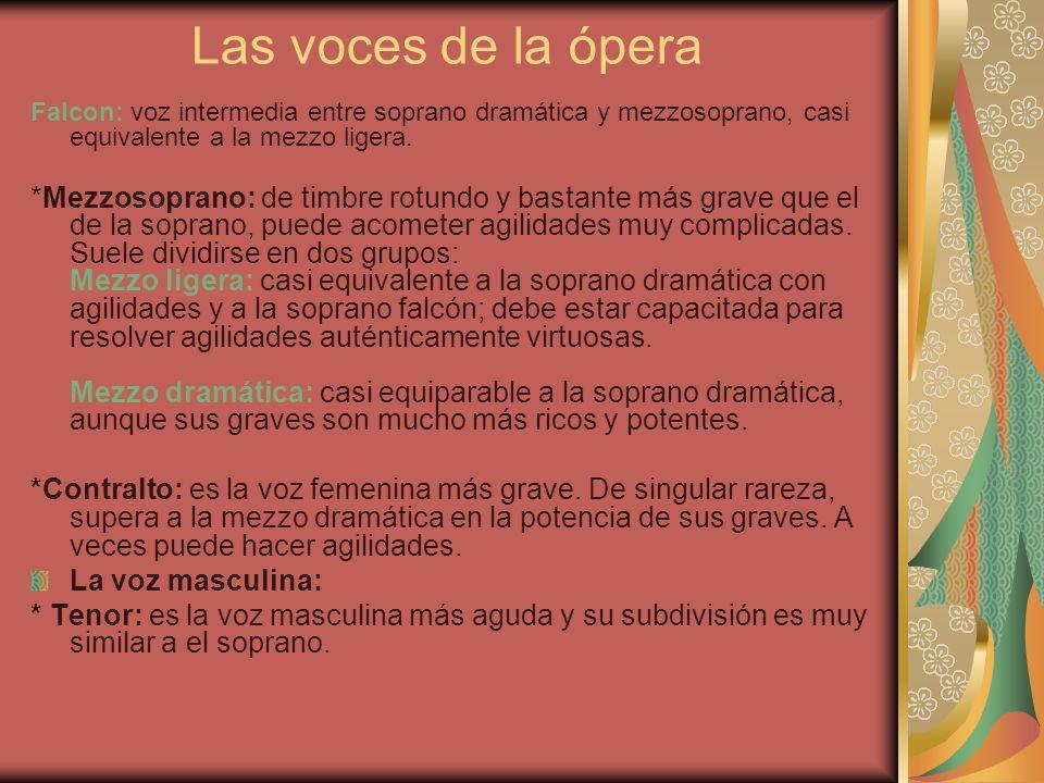 Las voces de la ópera Falcon: voz intermedia entre soprano dramática y mezzosoprano, casi equivalente a la mezzo ligera. *Mezzosoprano: de timbre rotu