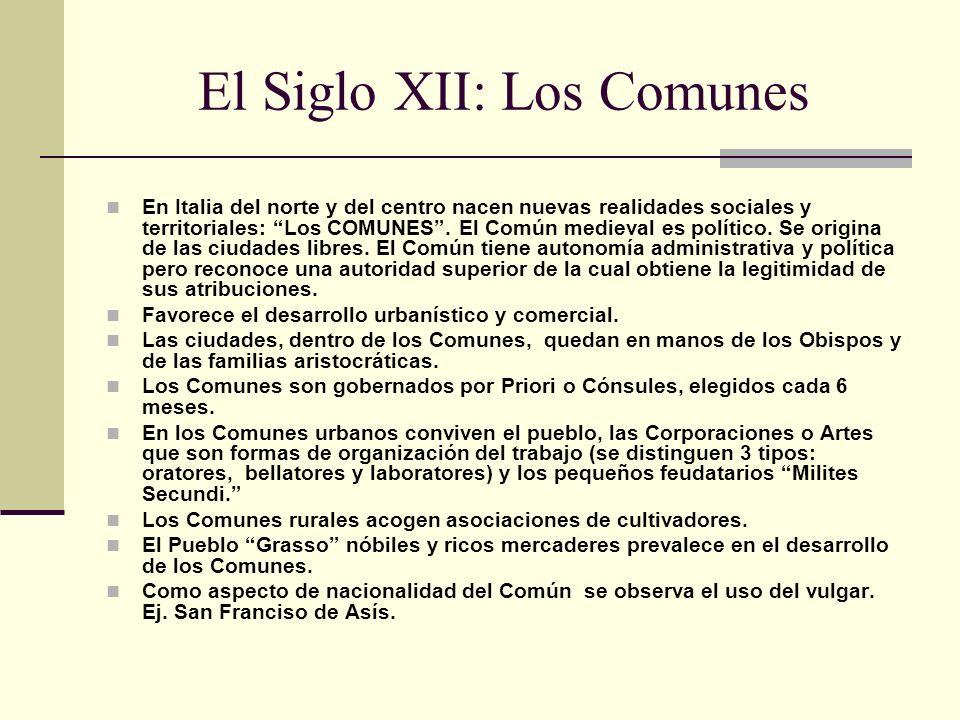 Consolidación de los Comunes En Boloña nace la primera Universidad con el estudio del derecho romano.