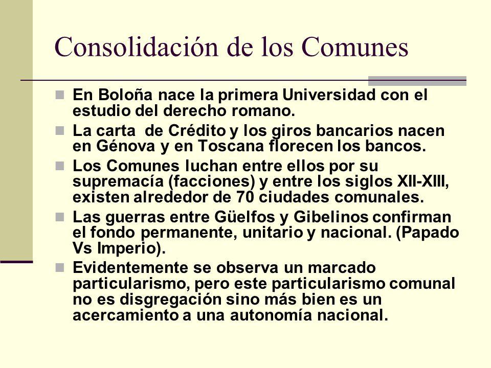 Consolidación de los Comunes En Boloña nace la primera Universidad con el estudio del derecho romano. La carta de Crédito y los giros bancarios nacen