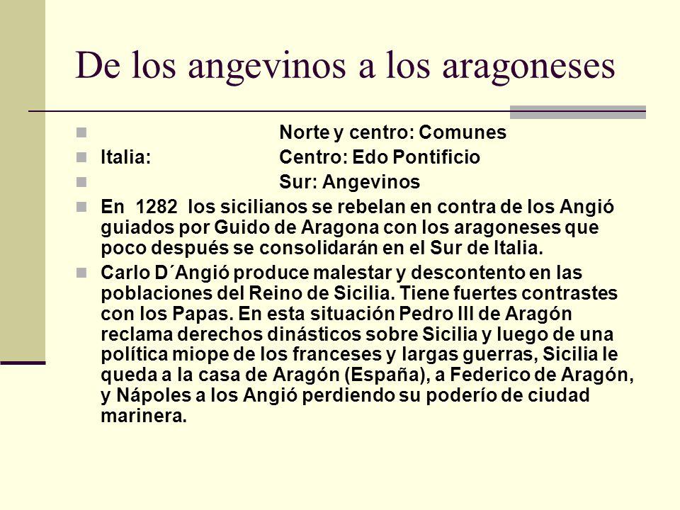 De los angevinos a los aragoneses Norte y centro: Comunes Italia:Centro: Edo Pontificio Sur: Angevinos En 1282 los sicilianos se rebelan en contra de