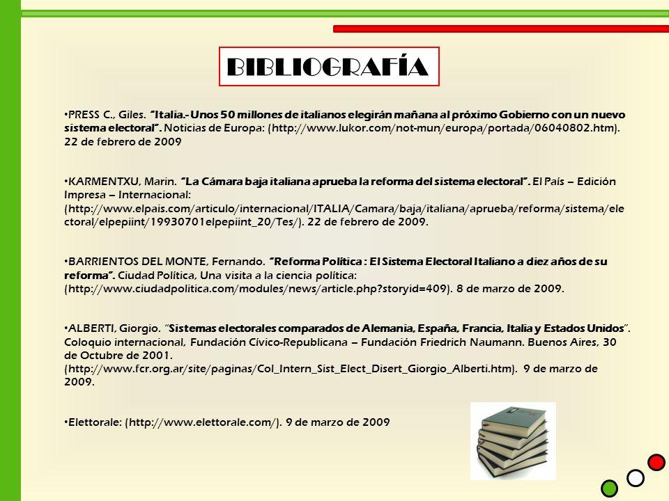 BIBLIOGRAFÍA PRESS C., Giles. Italia.- Unos 50 millones de italianos elegirán mañana al próximo Gobierno con un nuevo sistema electoral. Noticias de E