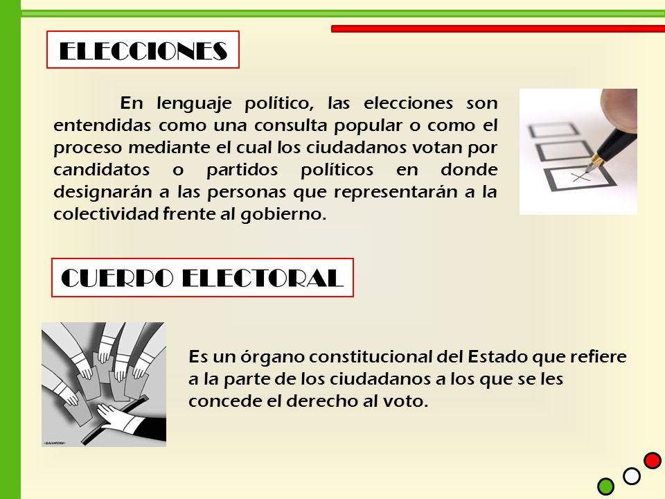 ELECCIONES En lenguaje político, las elecciones son entendidas como una consulta popular o como el proceso mediante el cual los ciudadanos votan por c