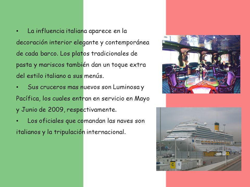 La influencia italiana aparece en la decoración interior elegante y contemporánea de cada barco. Los platos tradicionales de pasta y mariscos también