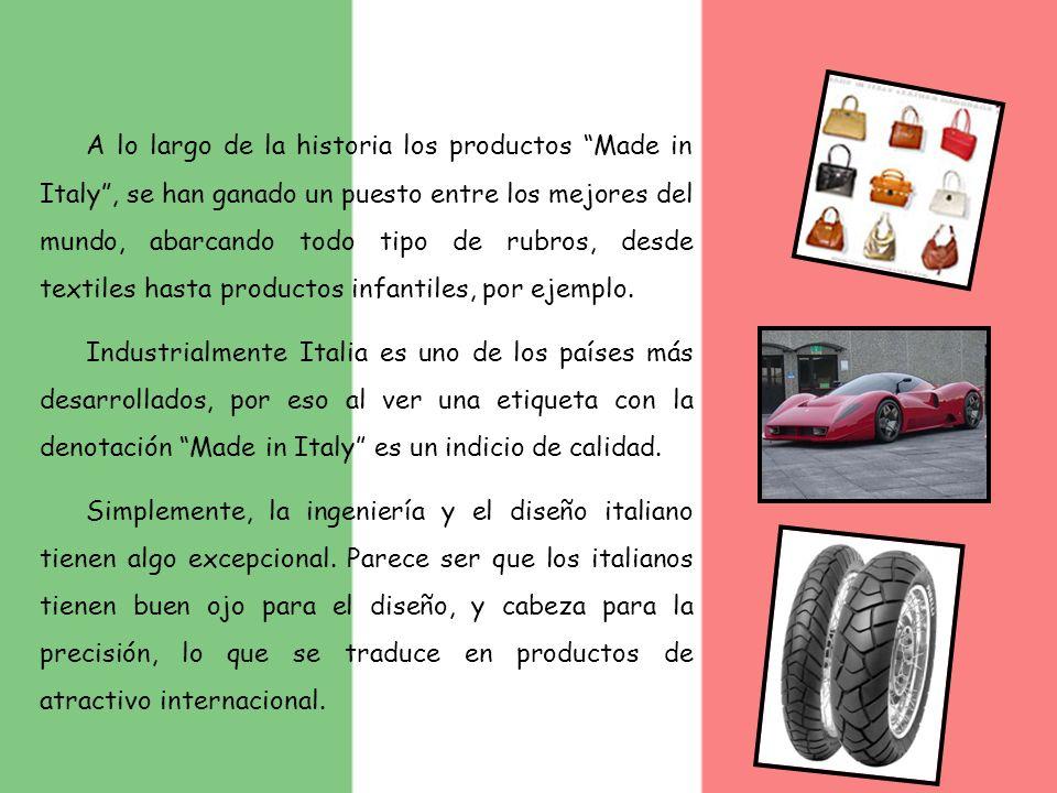 A lo largo de la historia los productos Made in Italy, se han ganado un puesto entre los mejores del mundo, abarcando todo tipo de rubros, desde texti