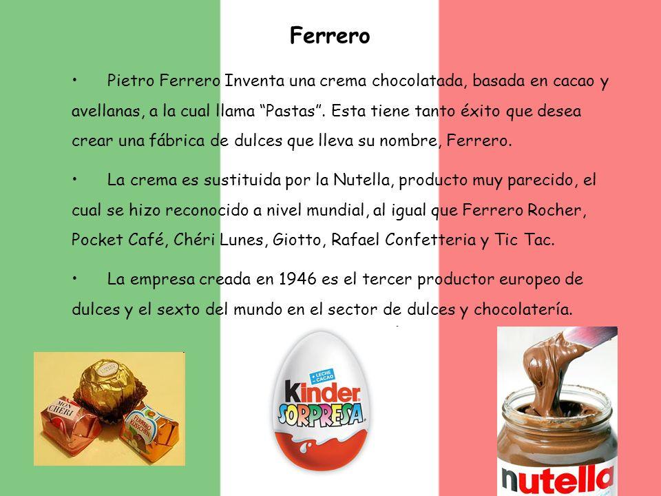 Ferrero Pietro Ferrero Inventa una crema chocolatada, basada en cacao y avellanas, a la cual llama Pastas. Esta tiene tanto éxito que desea crear una