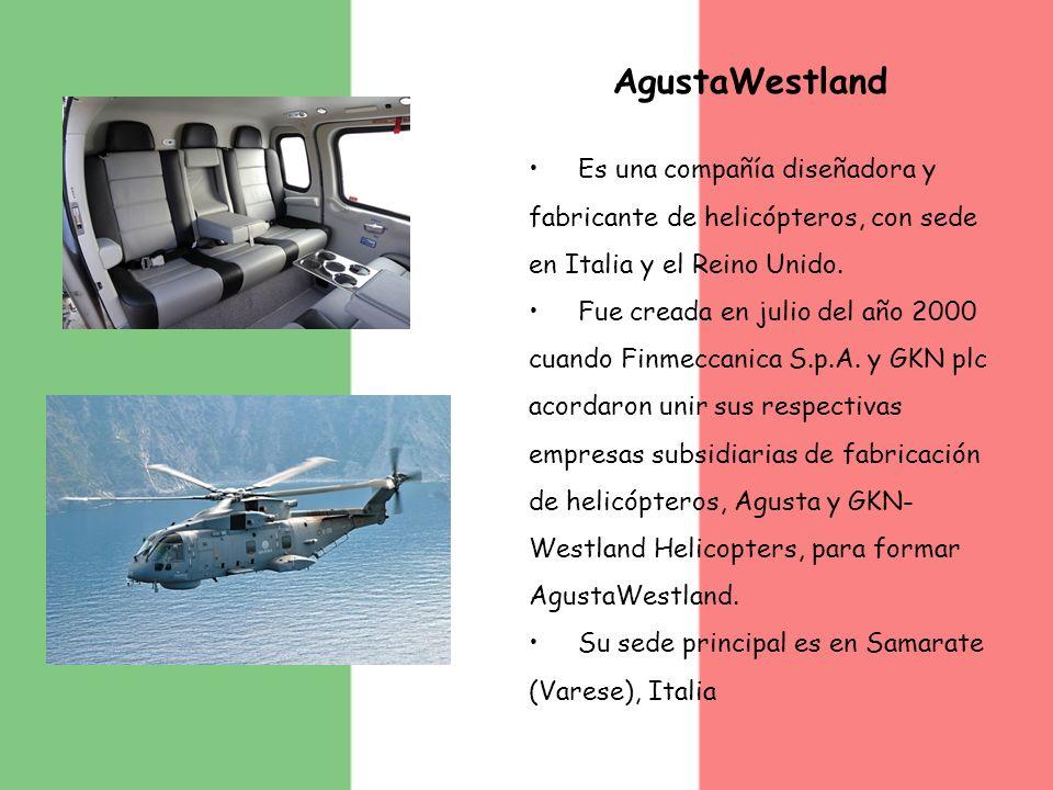 AgustaWestland Es una compañía diseñadora y fabricante de helicópteros, con sede en Italia y el Reino Unido. Fue creada en julio del año 2000 cuando F
