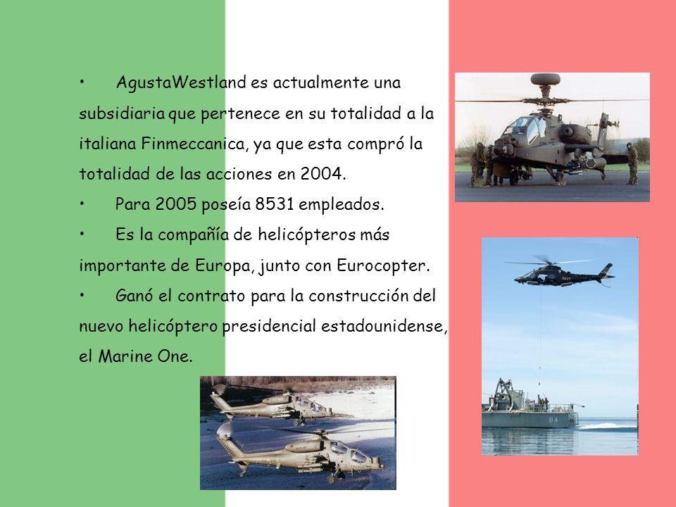 AgustaWestland es actualmente una subsidiaria que pertenece en su totalidad a la italiana Finmeccanica, ya que esta compró la totalidad de las accione