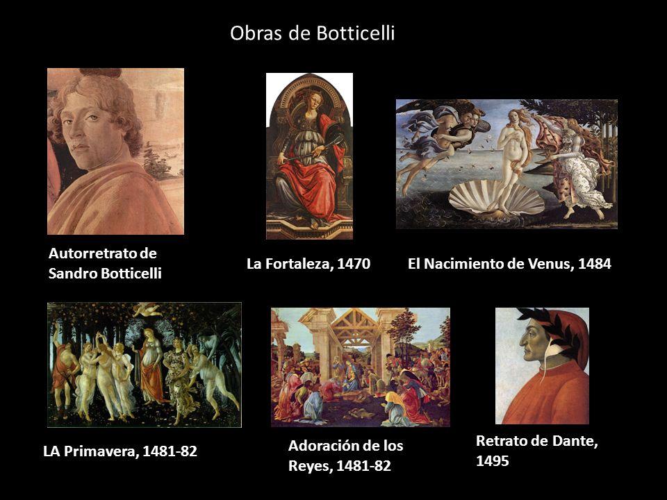 Obras de Botticelli Autorretrato de Sandro Botticelli La Fortaleza, 1470El Nacimiento de Venus, 1484 LA Primavera, 1481-82 Adoración de los Reyes, 148