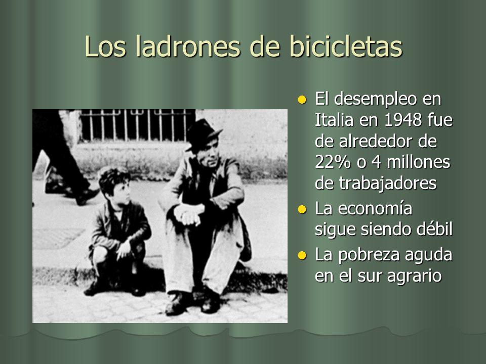 Los ladrones de bicicletas El desempleo en Italia en 1948 fue de alrededor de 22% o 4 millones de trabajadores El desempleo en Italia en 1948 fue de a