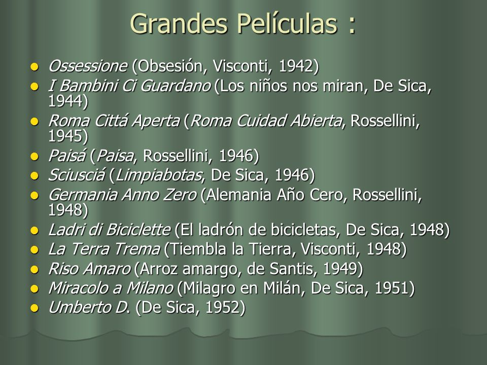 Grandes Películas : Ossessione (Obsesión, Visconti, 1942) Ossessione (Obsesión, Visconti, 1942) I Bambini Ci Guardano (Los niños nos miran, De Sica, 1