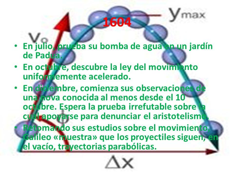 1604 En julio, prueba su bomba de agua en un jardín de Padua. En octubre, descubre la ley del movimiento uniformemente acelerado. En diciembre, comien