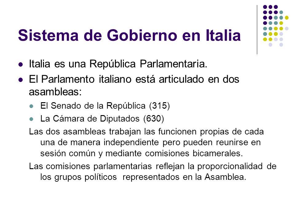 Sistema de Gobierno en Italia Italia es una República Parlamentaria.