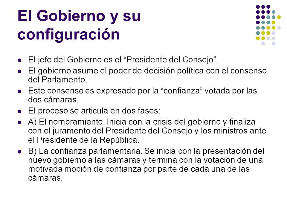 El Gobierno y su configuración El jefe del Gobierno es el Presidente del Consejo.