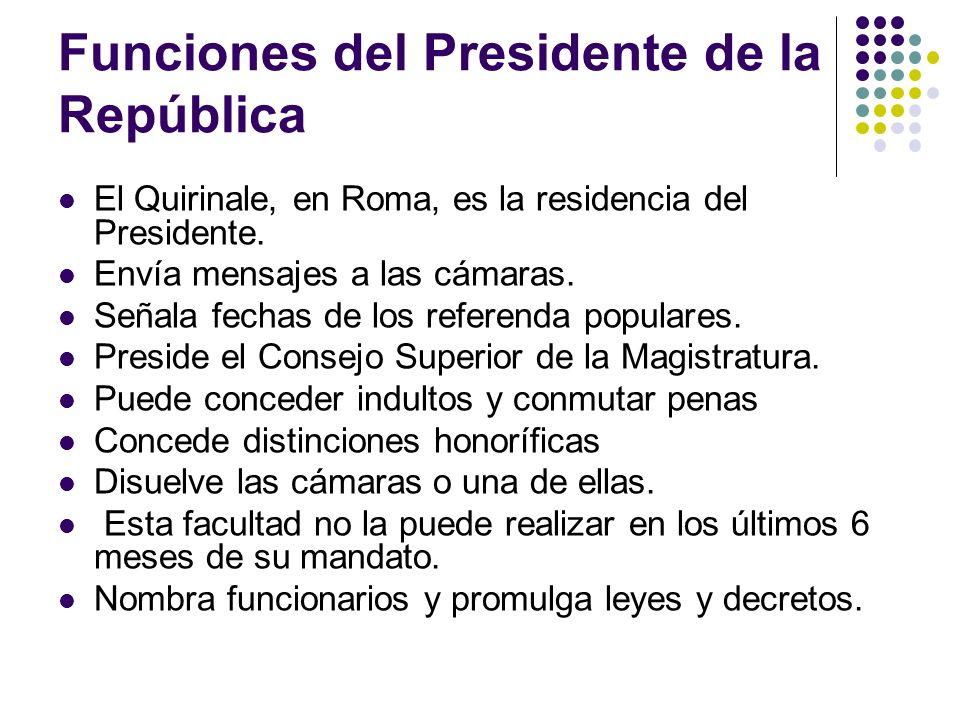Funciones del Presidente de la República El Quirinale, en Roma, es la residencia del Presidente.