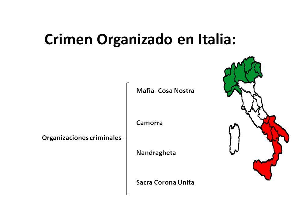 Crimen Organizado en Italia: Organizaciones criminales Mafia- Cosa Nostra Camorra Nandragheta Sacra Corona Unita