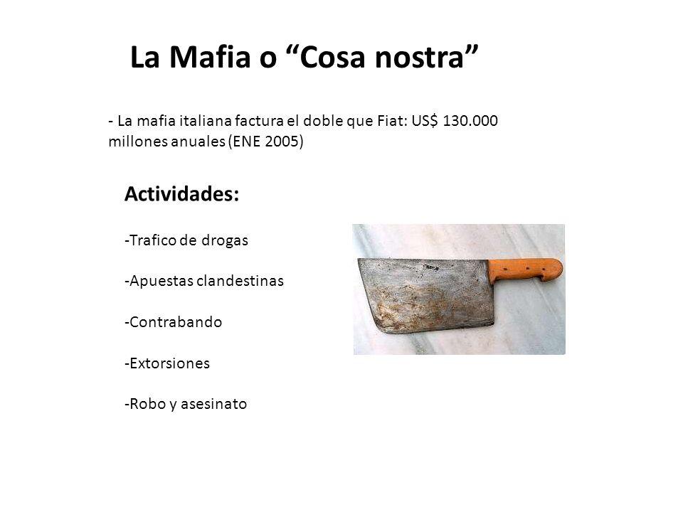 Actividades: -Trafico de drogas -Apuestas clandestinas -Contrabando -Extorsiones -Robo y asesinato La Mafia o Cosa nostra - La mafia italiana factura el doble que Fiat: US$ 130.000 millones anuales (ENE 2005)