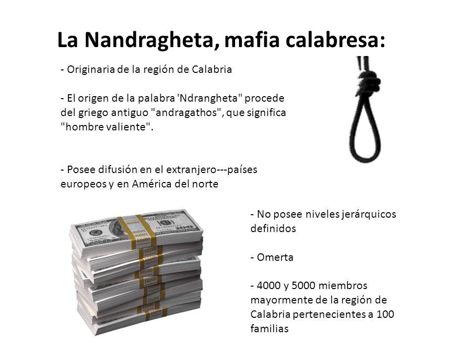 La Nandragheta, mafia calabresa: - Originaria de la región de Calabria - El origen de la palabra Ndrangheta procede del griego antiguo andragathos , que significa hombre valiente .