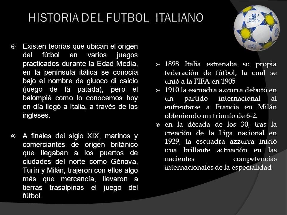 HISTORIA DEL FUTBOL ITALIANO En 1934 Italia era sede de la segunda edición del Campeonato Mundial de Fútbol, se titularon como el mejor equipo del balompié mundial tras vencer a Checoslovaquia 2 goles por 1 en la final celebrada en Roma.