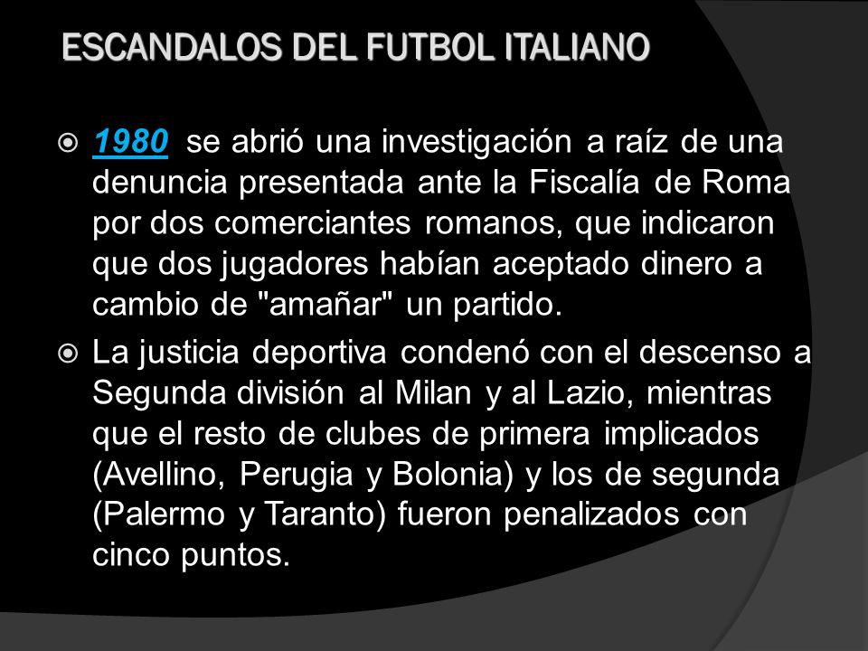 Fue en 1985 cuando la polémica volvió a hacerse un hueco en el Calcio italiano con el denominado Totonero , una serie de apuestas clandestinas coordinada por una organización que pagaba para alterar los resultados de varios encuentros de las tres máximas divisiones de Italia.